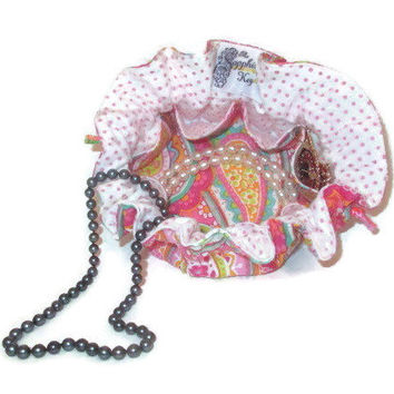 Drawstring Travel Jewelry Pouch / Satchel - Bright Paisley with Pink Polka Dot Flannel