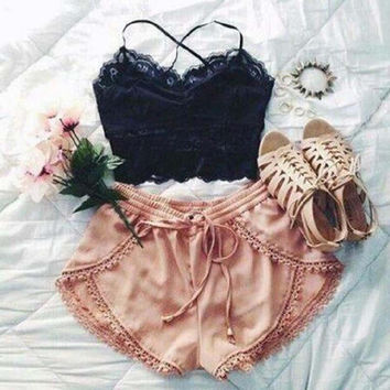 Sexy Lace Sling Vest Sexy and shorts Two-piece Set