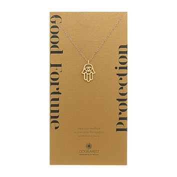 Dogeared Good Fortune/Protection Large Open Hamsa Necklace Gold Dipped - Zappos.com Free Shipping BOTH Ways