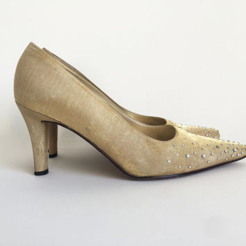 80s Shoes / 80s Gold Heels Gold Shoes Rhinestone Shoes Holiday Shoes High Heel Shoes 1980s Pumps Gold Heels US Woman's Size 8 by J. Renee