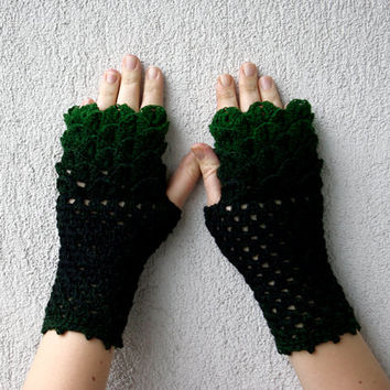 Knit Fingerless gloves, Fingerless glove mittens, Crochet gloves, Boho knit glove mittens, Girl's wool fingerless gloves