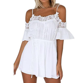 Women  Off Shoulder Lace Splice Beachwear White Playsuits Women Casual Jumpsuits And Rompers Women monos cortos #421 SM6