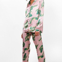 Tall Flamingo Print Satin Pyjama Set | Boohoo