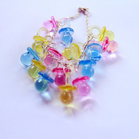 Maggie Dummy Pacifier Charm Bracelet Simpsons Pink Blue Yellow 90s