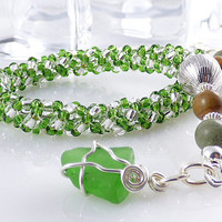 Green Sea Glass Charm Adjustable Bracelet Russian Spiral Rope Single Strand Sterling Silver Handmade Unique Fashion Girlfriend Gift for Her