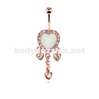 Rose Gold Beloved Heart Opal Dangle Belly Button Ring 14ga Navel Ring Body Jewelry