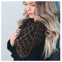 """""""Forever Style"""" Thick Chunky Waffle Knit Olive Infinity Scarf"""
