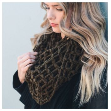 """Forever Style"" Thick Chunky Waffle Knit Olive Infinity Scarf"
