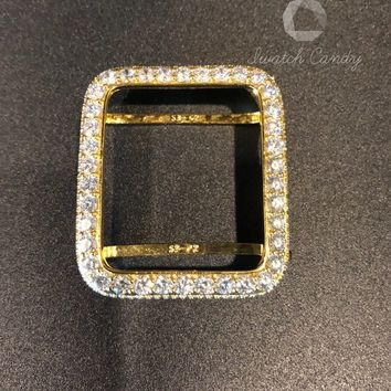 Series 4 Bezel Apple Watch Case Cover 38mm 40mm 42mm 44mm Womens Mens Iced Out Gold 2mm Lab Diamonds Rhinestone CrystalSeries 2 3 4
