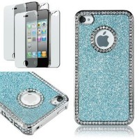 Pandamimi Deluxe blue Chrome Bling Crystal Rhinestone Hard Case Skin Cover for Apple iPhone 4 4S 4G With 2 Pcs Screen Protector and blue Stylus