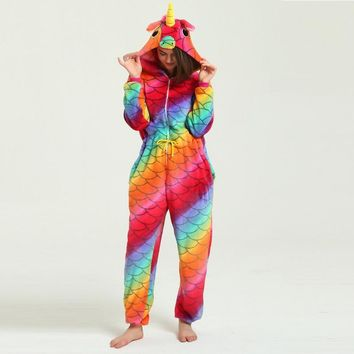 Cute Hooded Kigurumi Adult Sleepwear For Women Unicornio Licorne Femmes Winter Cute Cartoon Animal Pegasus Unicorn Pajamas