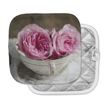 "Cristina Mitchell ""Roses In A Tea Cup"" Pink White Floral Photography Pot Holder"