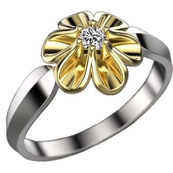 2 Tone Flower Leaves Ring Promise Ring Unique Engagement Ring Floral ring Birthday Gift For Her Christmas Gift in 18K Gold