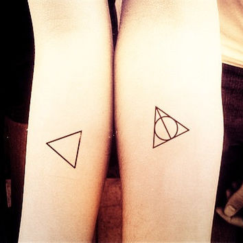 2pcs Triangle Deathly Hallows Harry Potter triangle tattoo - InknArt Temporary Tattoo quote tattoo wrist sticker fake tattoo small tiny
