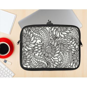 The Black & White Vector Floral Connect Ink-Fuzed NeoPrene MacBook Laptop Sleeve