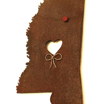 Mississippi State Map Metal Wall Art Sculpture - State Sculpture - State Silhouette - State Decor - Rustic - Rusty