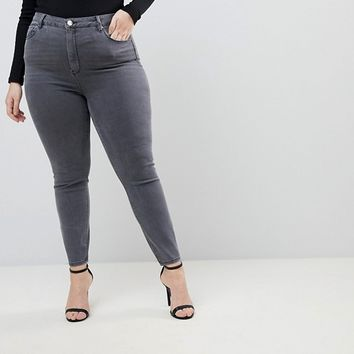 ASOS CURVE RIDLEY High Waist Skinny Jeans in Stacey Gray at asos.com