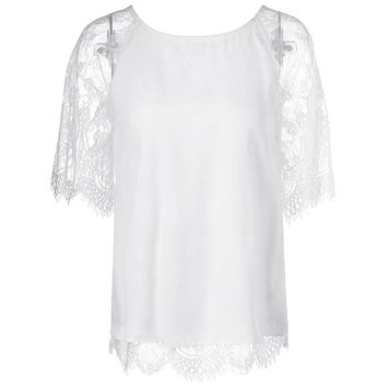 Elegant Round Neck Short Sleeves Splice Lace T-Shirt For Women