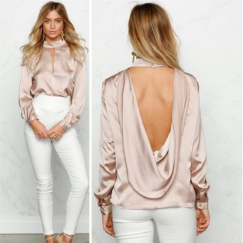 Fashion  Turtleneck Open Chest Long Sleeve V Backless Chiffon Shirt Tops