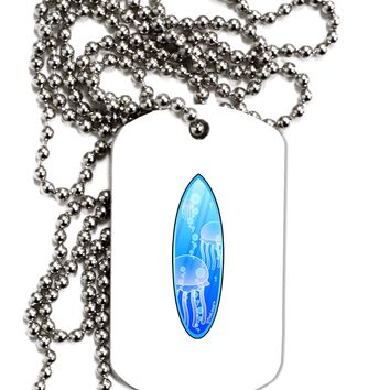 Jellyfish Surfboard Adult Dog Tag Chain Necklace by TooLoud