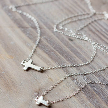 Sterling Silver Sideways Cross Necklaces - Mother Daughter Necklace Set - Small Cross and Large Cross