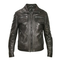 Forzieri Designer Leather Jackets Men's Black Genuine Leather Motorcycle Jacket