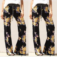 Woman Floral Palazzo Trousers Wide Leg Flared Loose Pants Leggings