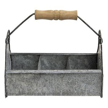 Rustic Metal Utility Box with Wooden Handle