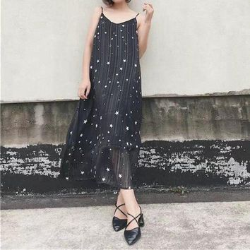 ONETOW Fashion V-Neck Backless Star Print Ruffle Sleeveless Strap Maxi Dress