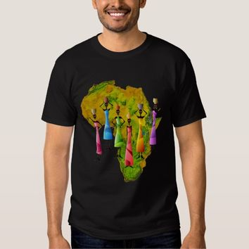 African Women In Colorful Dresses On Africa Map