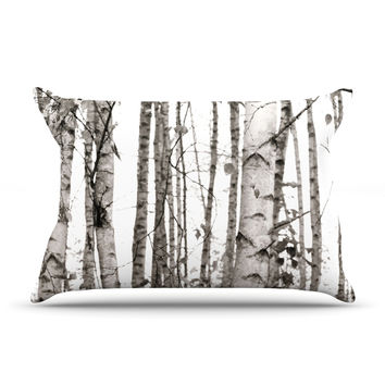 "Monika Strigel ""Birchwood"" Gray Forest Pillow Case"