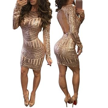 Swagger Dynasty Classics Women Dress, Sexy Long Sleeves Sequined Back pack Hip Causal Dresses