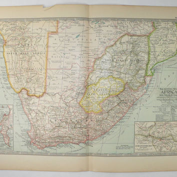 Antique South Africa Map 1899 Vintage Map South Africa, Gift for Him Man Cave Decor, Cape Good Hope Map, Vintage African Decor Gift