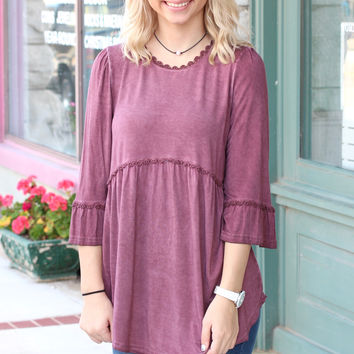 Back Zip Acid Wash Tunic {Burgundy}