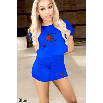 Champion tide brand female solid color embroidery letter short sleeve sports suit two-piece Blue