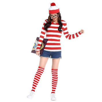 ICIKHY9 2016 Where's Wally Waldo TV Cartoon Stag Night Outfit Adult Mens Fancy Dress Costumes halloween costume for women cosplay