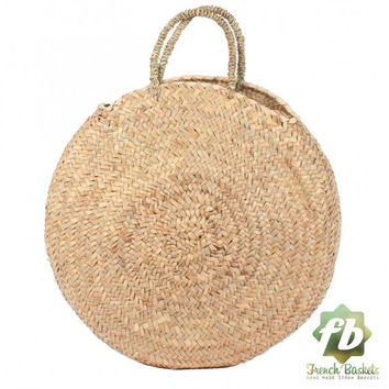 Round large wicker basket natural Handles : French Basket, Moroccan Basket, straw bag, french market basket, Beach Bag, straw bag