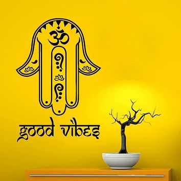 Hamsa Hand Good Vibes Home Decals Bedroom Wall Papers Living Room Poster Removable Adhesives Murals Vinyl Art Stickers S-530