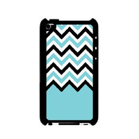 Aqua Black White Chevron iPod Touch 4 Case - For iPod Touch 4 4G - Designer Plastic Snap on Case