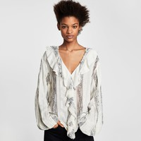 LACE BLOUSE WITH RUFFLES DETAILS