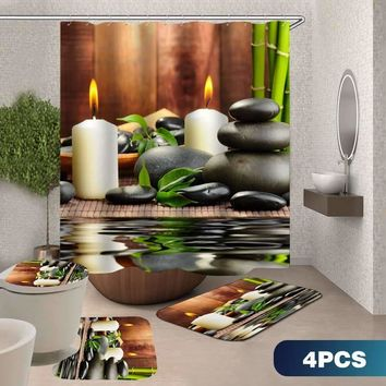 180*180CM  Waterproof Bathroom Bamboo Stone Candle Shower Curtain Toilet Cover Mat Non-Slip Rug Set