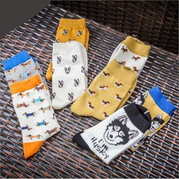 Animal Dog Pug Pattern Cotton Socks Funny Crazy Cool Novelty Cute Fun Funky Colorful