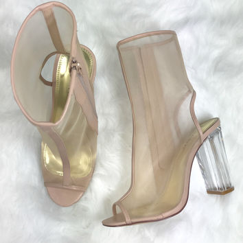 Hide Away Nude Mesh Booties