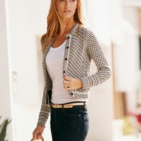 Textured Edge To Edge Cashmere Jacket | Pure Collection USA