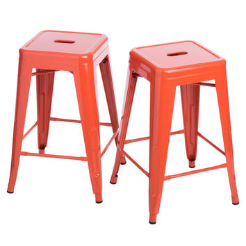Tango in Tangerine 24 inch Gloss Bar Stools - Set of 2