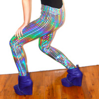 Disco Ball Rainbow Leggings ALL SIZES by devowevo on Etsy
