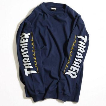 DCCKN6V THRASHER Letter and Logo Print Long Sleeve Sweater