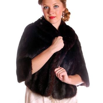 Vintage Fur Luxurious Darkest Brown Mink Stole Movie Star 1950s