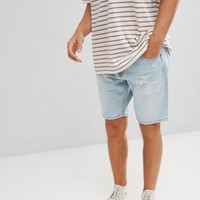 Stradivarius Denim Shorts In Light Blue With Abrasions at asos.com