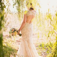 Gorgeous Open Back Lace Wedding Dresses Brush/Sweep Train Lace Bridal Gown Custom Made Wedding Gown Vestidos De Noiva Online with $167.54/Piece on Gama's Store | DHgate.com